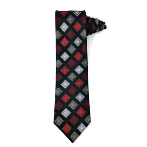 Giorgio Brutini Long Black Tie with Squares Design